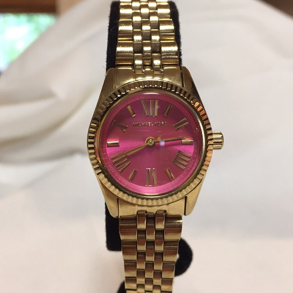 7382a473a5c3 Michael Kors Mini Lexington Pink Dial Gold Watch. M 5b65da8542aa763b21b97764